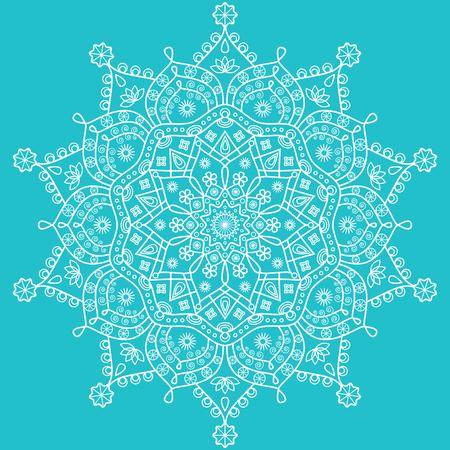 Floral mandala pattern on robin egg blue background.