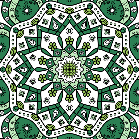 Floral mandala background in green and white. Standard-Bild - 122853814