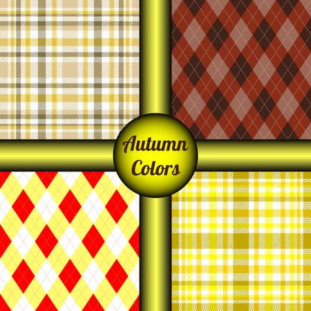 Set of four seamless plaid patterns.