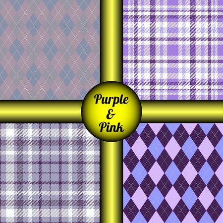Set of four plaid patterns.