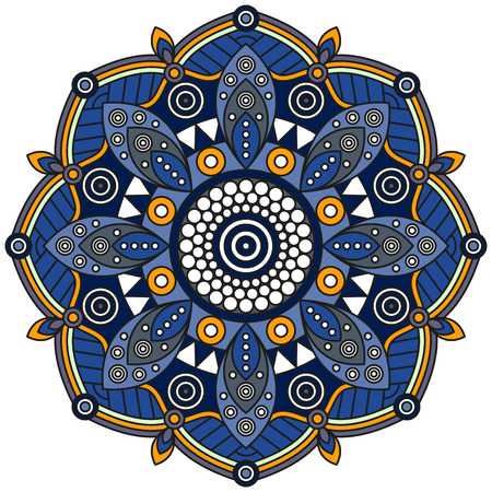Mandala pattern in shades of blue and orange.