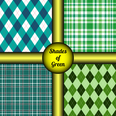 Set of four plaid check patterns.