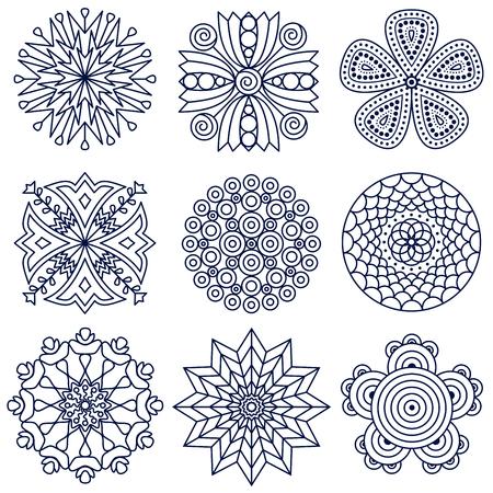 Set of nine mandala patterns. Vektorové ilustrace