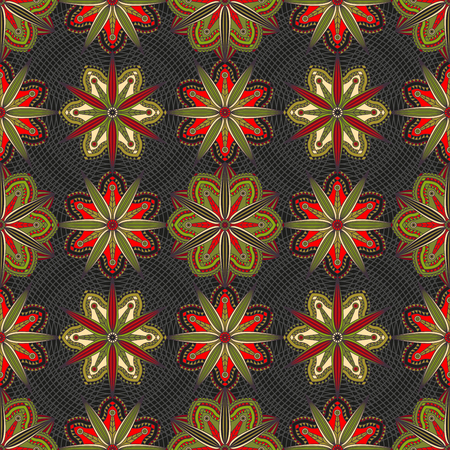 Seamless geometric floral pattern in red, green and black. Illustration