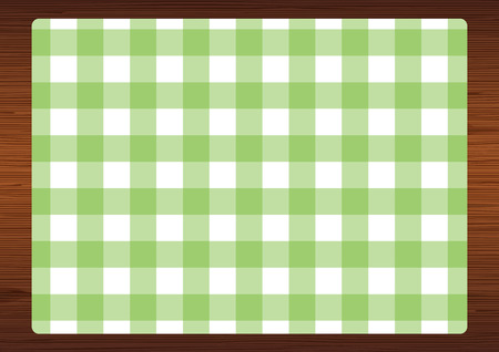 Gingham check placemat on wood texture background. Ilustração