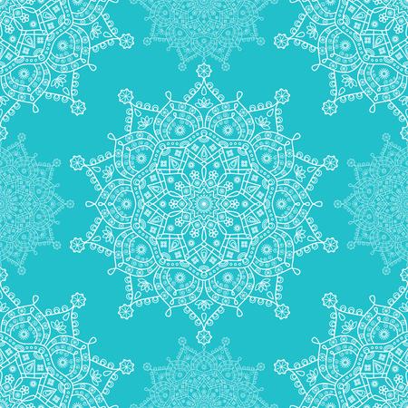 Seamless mandala medallion pattern in robin egg blue and white.