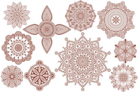 Collection of henna tattoo Hindu  mandala patterns. Illustration