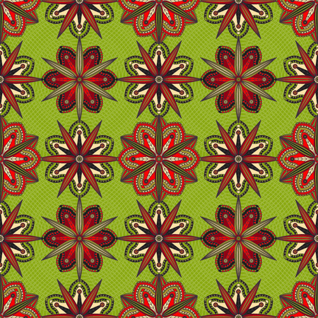 Seamless geometric floral pattern. Illustration
