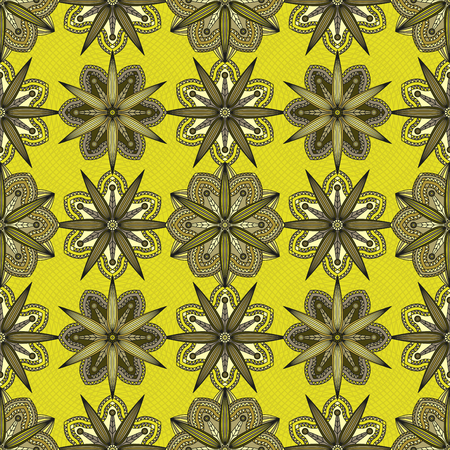 Seamless geometric floral print in shades of green. Illustration