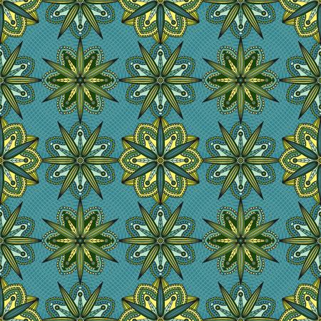 Seamless geometric floral print. Illustration