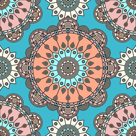 Seamless mandala medallion pattern in blue, orange and pink. Ilustrace