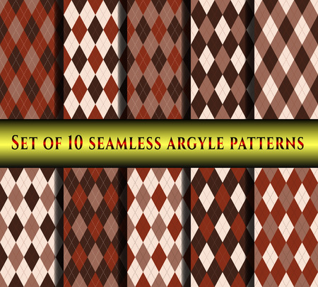 Set of ten seamless argyle check patterns. 向量圖像