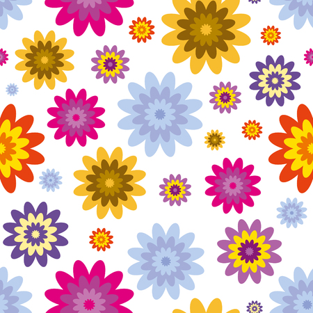 Seamless abstract floral print in blue, pink, orange and white.