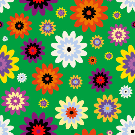 Seamless abstract floral print in green, orange, purple, blue and white.