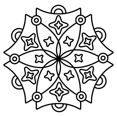 Simple floral mandala pattern for coloring book pages, tattoo prints and decorative stamps. Banco de Imagens - 122855101