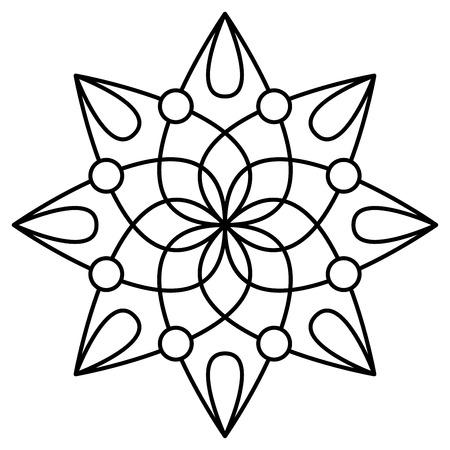 Motif de mandala floral simple pour les pages de livres à colorier, les impressions de tatouage et les tampons décoratifs.