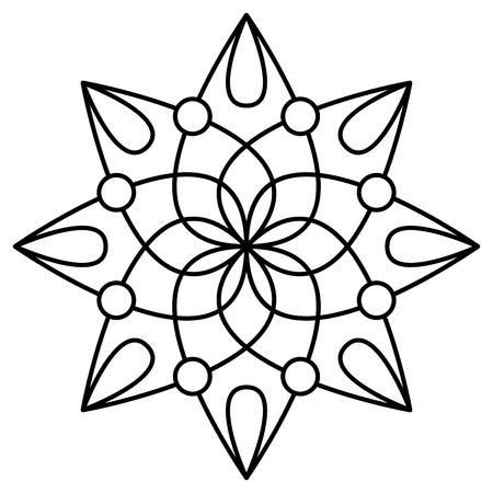 Simple floral mandala pattern for coloring book pages, tattoo prints and decorative stamps. Reklamní fotografie - 122855102