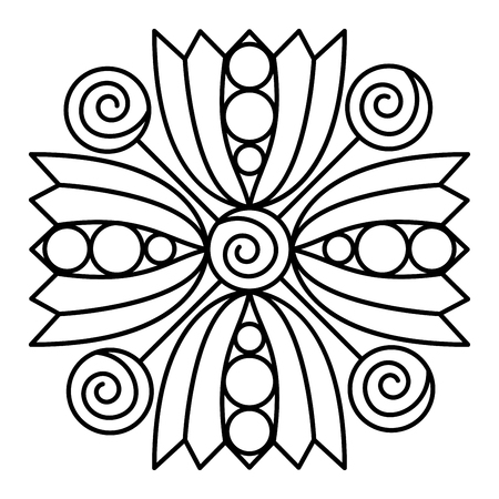 Simple floral mandala pattern for coloring book pages, tattoo prints and decorative stamps. Reklamní fotografie - 122855105