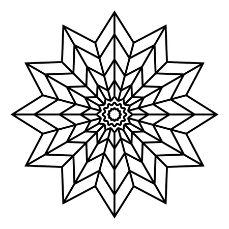 Simple floral mandala pattern for coloring book pages, tattoo prints and decorative stamps. Reklamní fotografie - 122855121