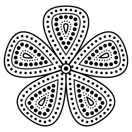 Simple floral mandala pattern for coloring book pages, tattoo prints and decorative stamps.
