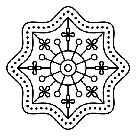 Simple floral mandala pattern for coloring book pages, tattoo prints and decorative stamps. Reklamní fotografie - 122855131