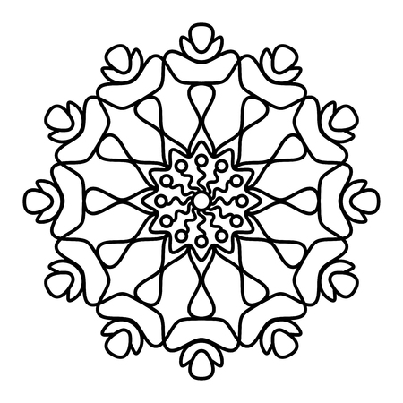 Simple floral mandala pattern for coloring book pages, tattoo prints and decorative stamps. Reklamní fotografie - 122855132