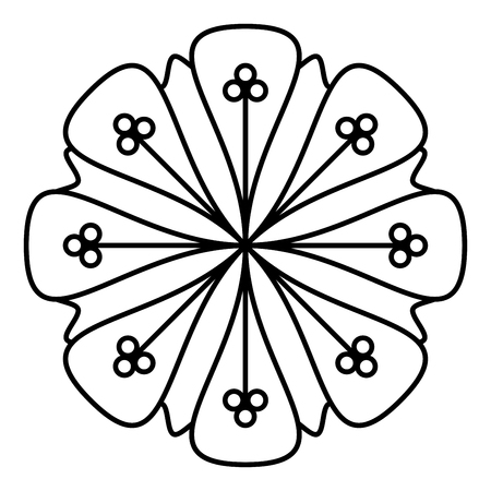Simple floral mandala pattern for coloring book pages, tattoo prints and decorative stamps. Banco de Imagens - 122855136