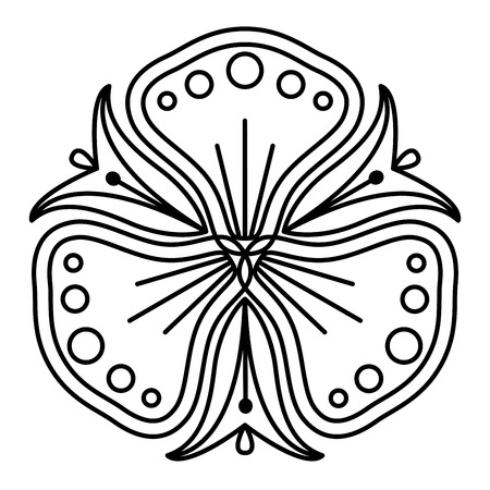 Simple floral mandala pattern for coloring book pages, tattoo prints and decorative stamps. Banco de Imagens - 122855140
