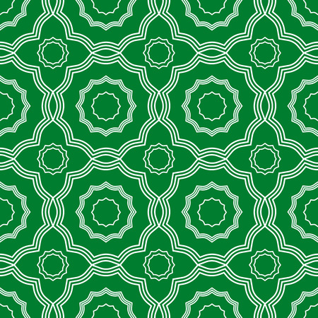 Seamless geometric print in green and white. Illustration