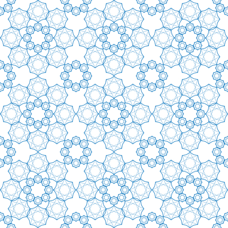 Seamless geometric print in blue and white.