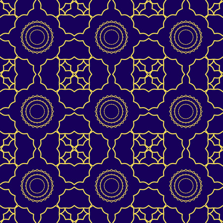 Seamless geometric print in navy blue and golden yellow.