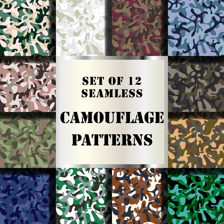 Collection of 12 seamless camouflage pattern prints.