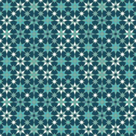 Seamless geometric stars pattern in shades of blue.