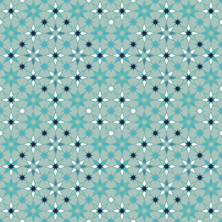 Seamless geometric stars pattern in shades of blue.