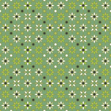 Seamless geometric stars pattern in shades of green.