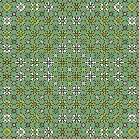 Seamless geometric stars pattern in shades of green.