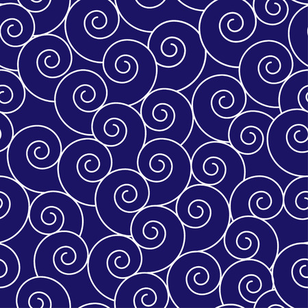 Seamless abstract waves pattern in navy blue and white.  イラスト・ベクター素材