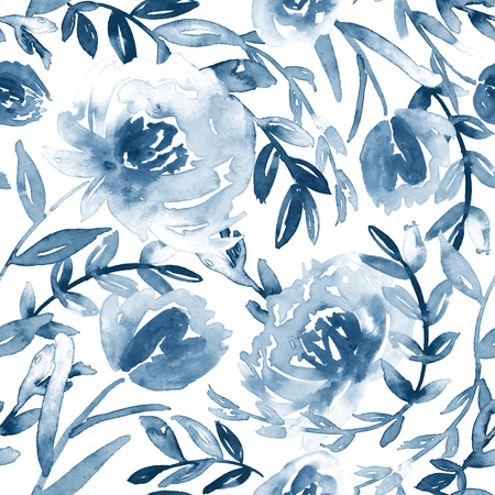 Seamless watercolor floral pattern in blue and white. 免版税图像