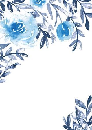 Aquarellblumenrahmen in Blau und Indigo. Standard-Bild