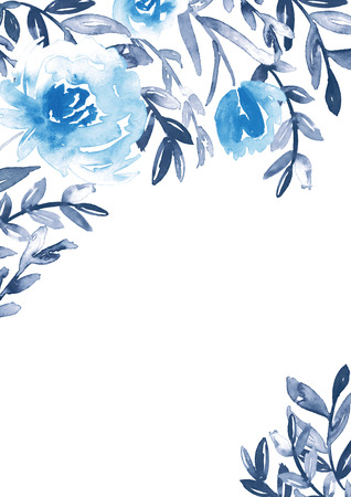 Watercolor floral frame in blue and indigo. 스톡 콘텐츠