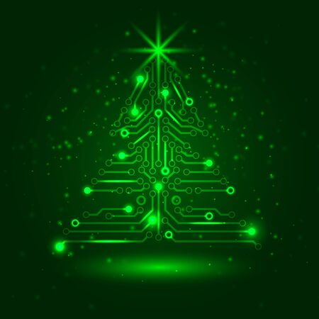 Abstract technology Christmas tree. Vector
