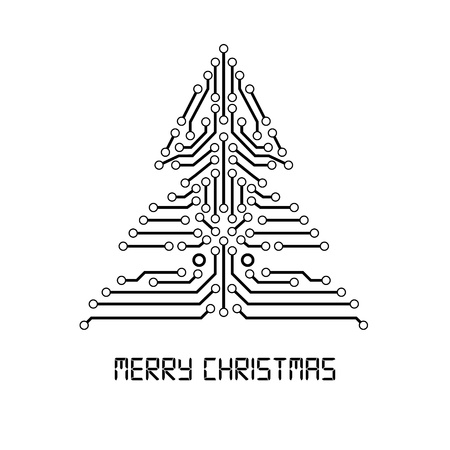 Christmas tree from digital electronic circuit. Vector