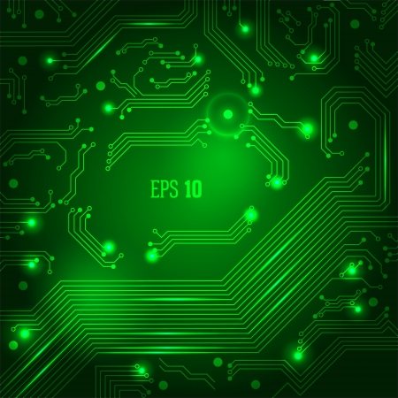 high tech: Abstract background with circuit board. Illustration