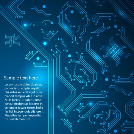 processors: Abstract hi-tech blue background.  Illustration