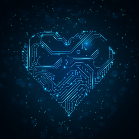 Colorful abstract technology heart   Illustration