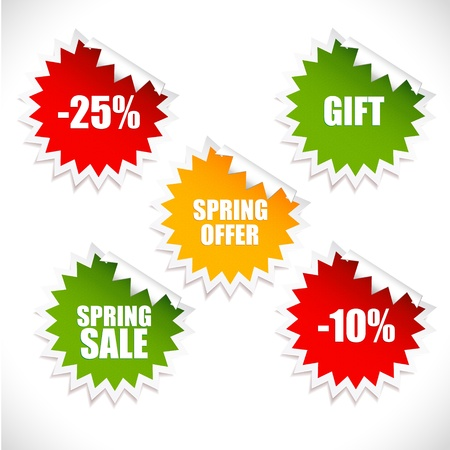 Colorful vector spring sale stickers  Sale  Illustration