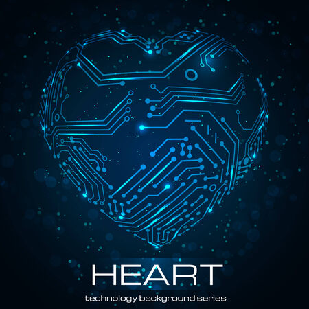warp: Abstract technology heart. Vector illustration. Valentines Day image. Illustration
