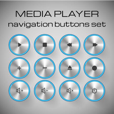 interface menu tool: Set of media control buttons. Vector illustration.