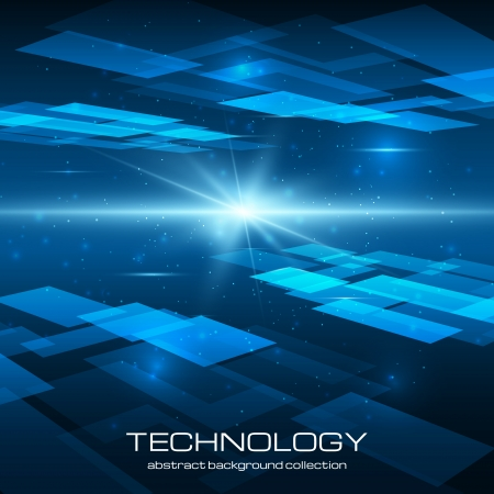 Abstract yellow technology background with bright flare. Vector illustration.