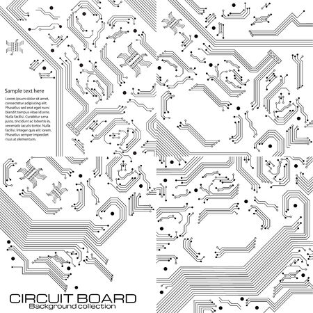 Set of technology backgrounds with circuit board elements.